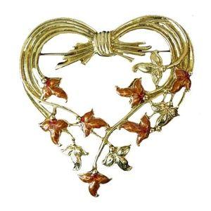 1928 Jewelry Jewelry - 1928 Jewelry Heart Pin Ivy Enamel Victorian Style